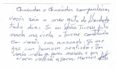 bilhete de Lula ao companheiros da Vigília