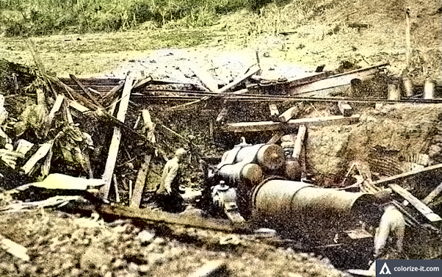 Captured Japanese artillery on Mt. Maculot, 1945.