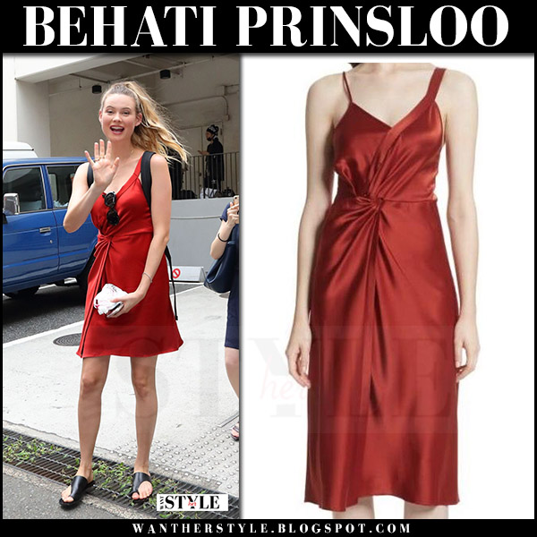 Behati Prinsloo in red satin mini dress alexander wang celebrity style august 9 2017