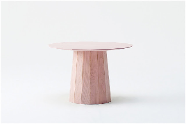 All pink Colour Wood side table designed by Scholten & Baijings for Karimoku New Standard