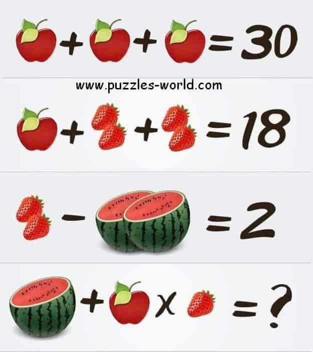 Apple + Apple + Apple = 30 Puzzle