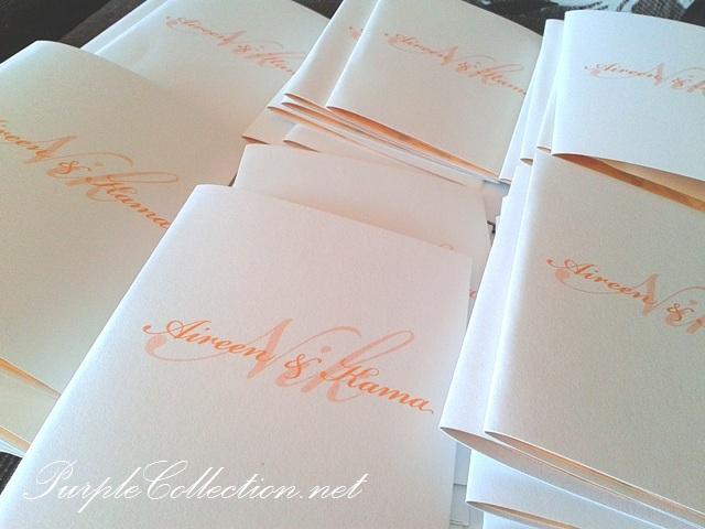 Peach And White Wedding Invitation Cards