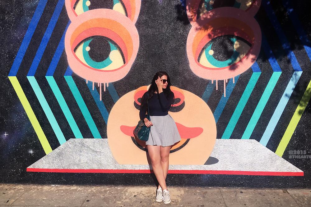 Emma Louise Layla in blue stripe Petit Bateau dress - Santa Monica street art - Los Angeles travel blogger