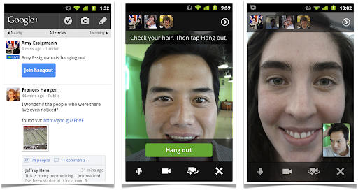 Hangouts on your phone: Stream View (left), Green Room (center), Portrait Mode (right)