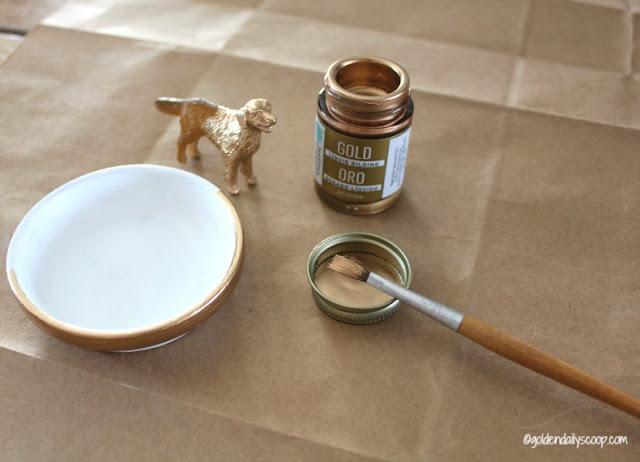 gold gilding paint for golden retriever ring holder
