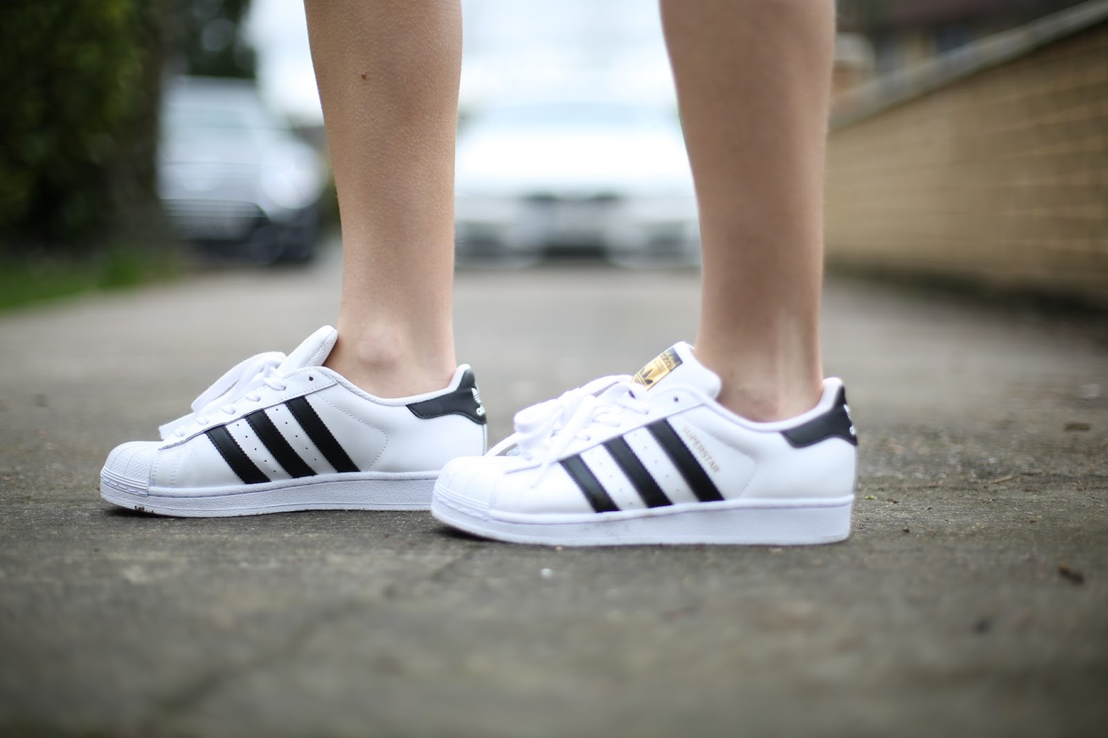 Adidas black and white superstar