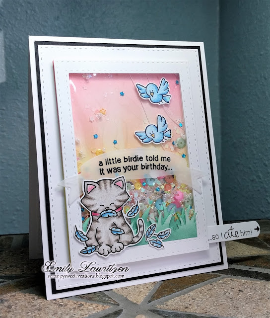 A Little Birdie Told Me Card by February Guest Designer Emily Lauritzen | Newton's Birthday Flutter Stamp Set by Newton's Nook Designs #newtonsnook