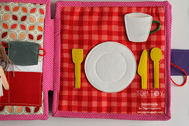 Quiet book for Olivia. Handmade busy cloth book for a girl, place setting