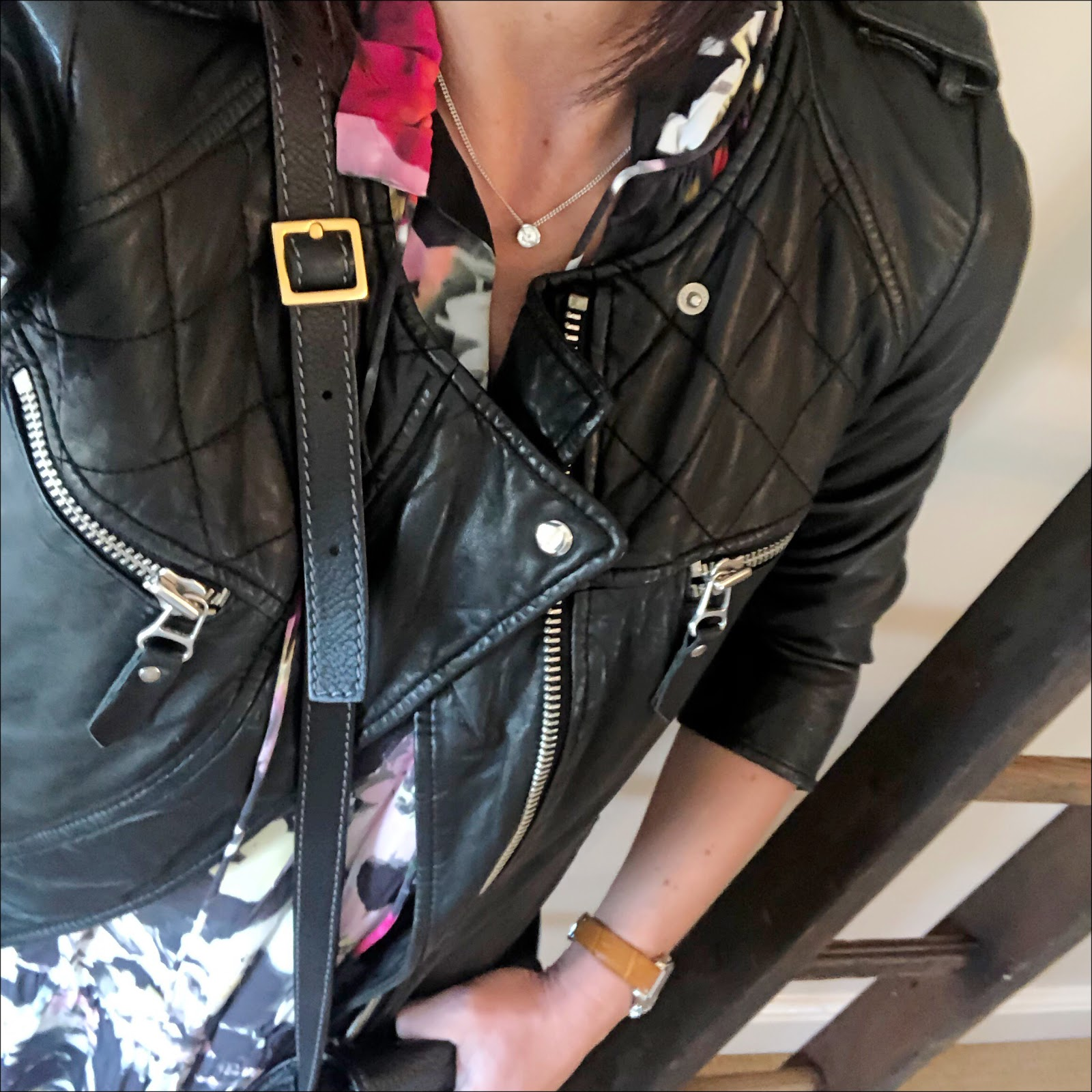 my midlife fashion, isabel marant leather biker jacket, chloe marcie cross body bag, and other stories floral maxi dress, golden goose superstar low top leather trainers