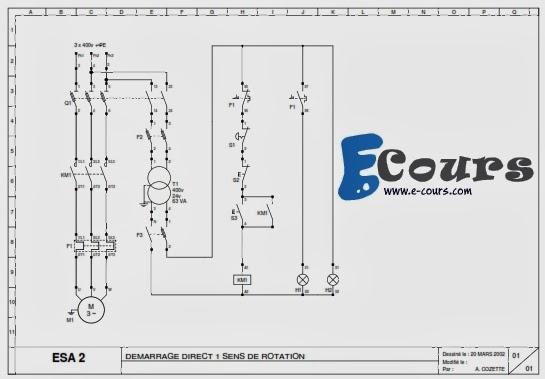 schemas electrique industriel du demarrage du moteur. Black Bedroom Furniture Sets. Home Design Ideas