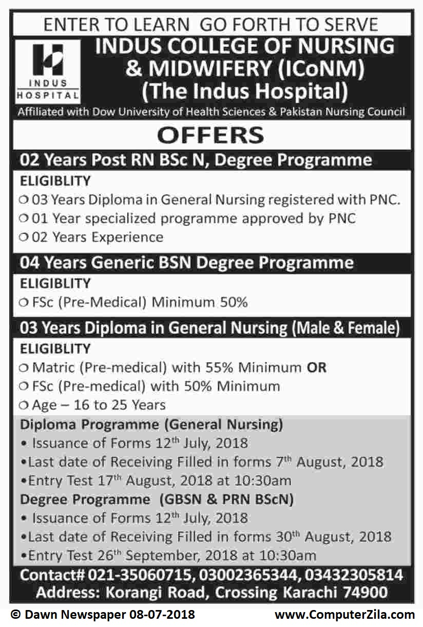 Indus College of Nursing & Midwifery Admissions Fall 2018