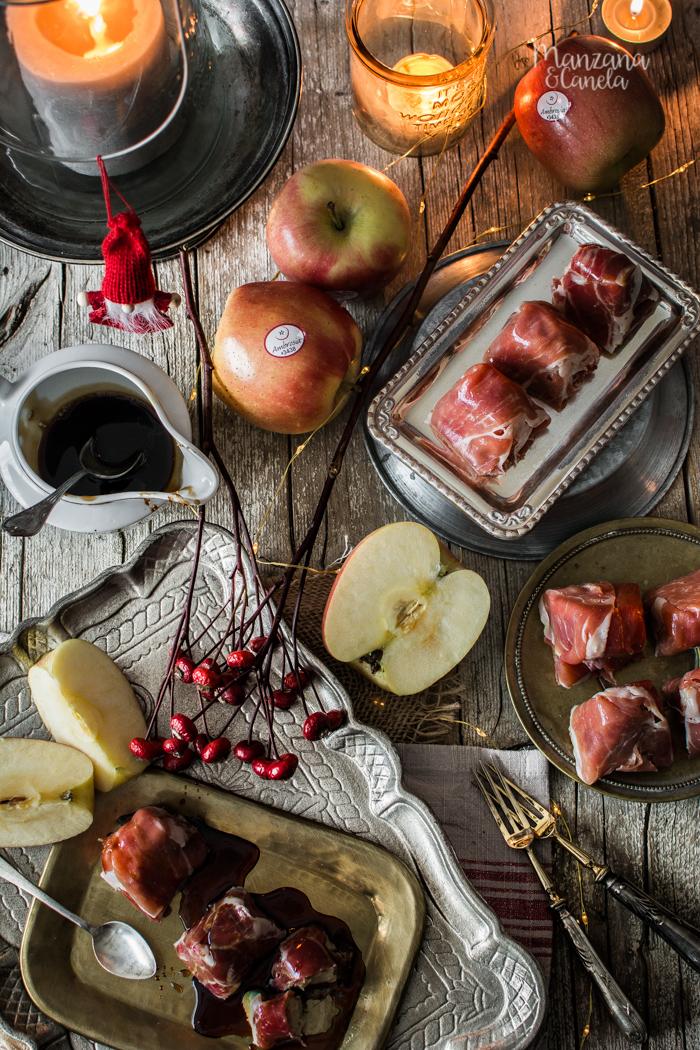 Bombones de manzana, foie y jamón ibérico.
