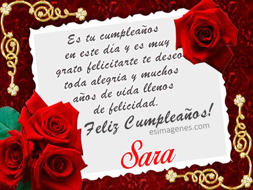 Feliz cumpleaños Sara - Imágenes Tarjetas Postales con