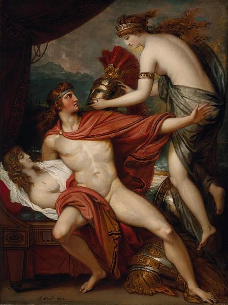 Thetis Bringing the Armor to Achilles by Benjamin West, Classical mythology, Greek mythology, Roman mythology, mythological Art Paintings, Myths and Legends