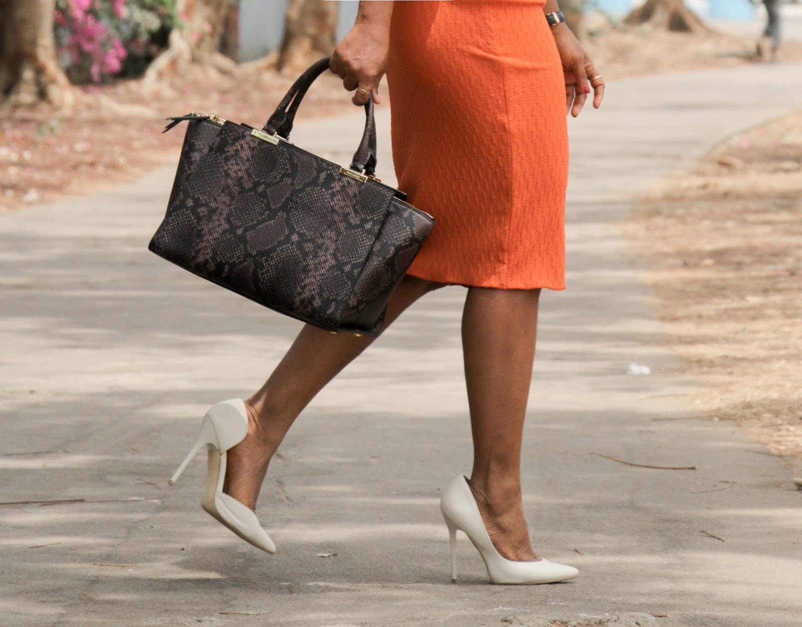 THE FLYGERIAN - Henri Bendel Snake Print Bag from The Flygerian with Boohoo Court shoes