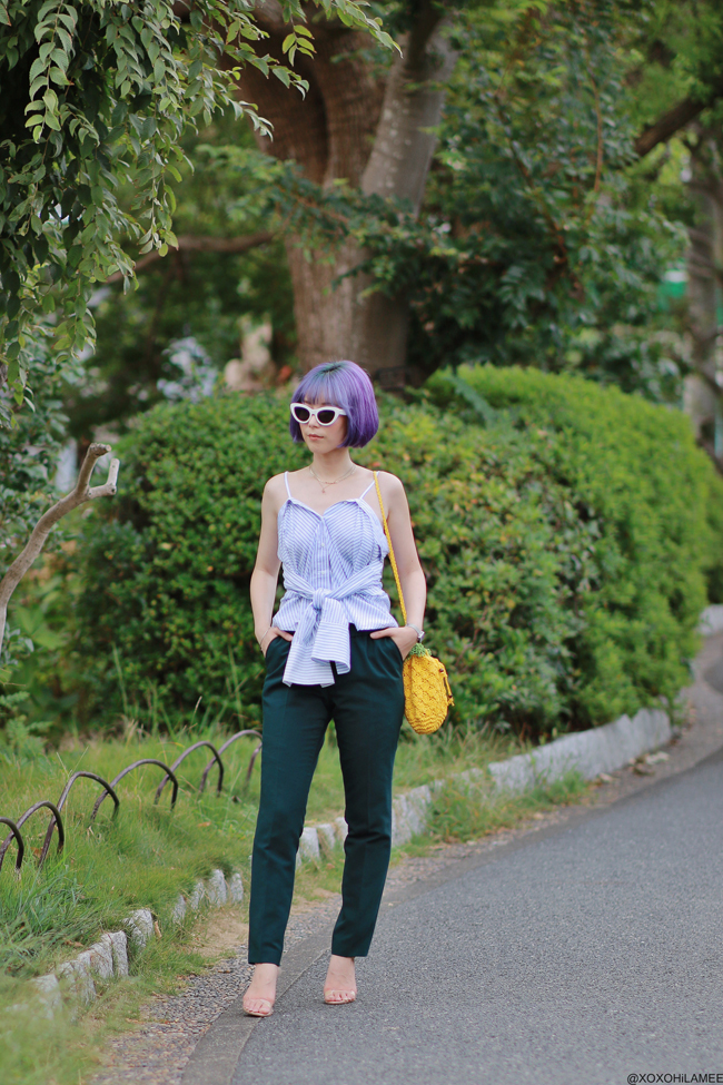 Japanese Fashion Blogger,MizuhoK,20190907OOTD, Shein=shirt,pineapple bag, clear strapped sandals, STUDIOS=green pants, ZARA=sunglasses