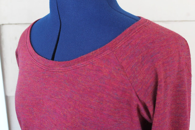 Bellevue top made from a sweater knit with a paisley accent, close up of the neckline