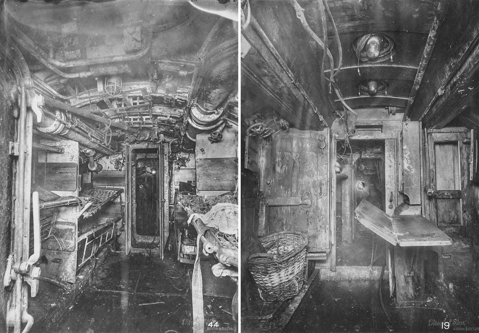 (Left) Number 6 compartment with sleeping berths. (Right) Crew space.
