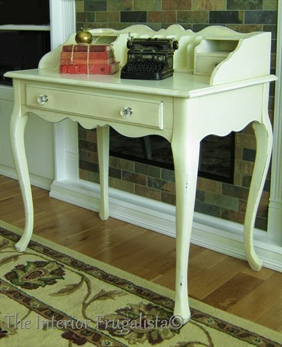 French Provincial Desk makeover with Vanilla Frosting Chalkpaint