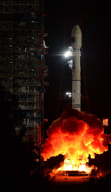 A Chinese Long March 3B rocket, carrying the first Communications Engineering Test Satellite (TXJSSY-1), lifts off from the Xichang Satellite Launch Center on Sept. 12, 2015. Photo Credit: News.cn