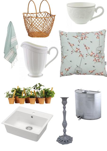 cojin estilo country romantico, tazas blancas, canastas de mimbre, color organza