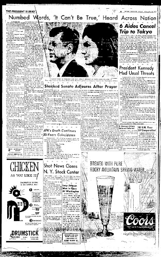 Page 4 of the Denver Post's day-of coverage of JFK's assassination