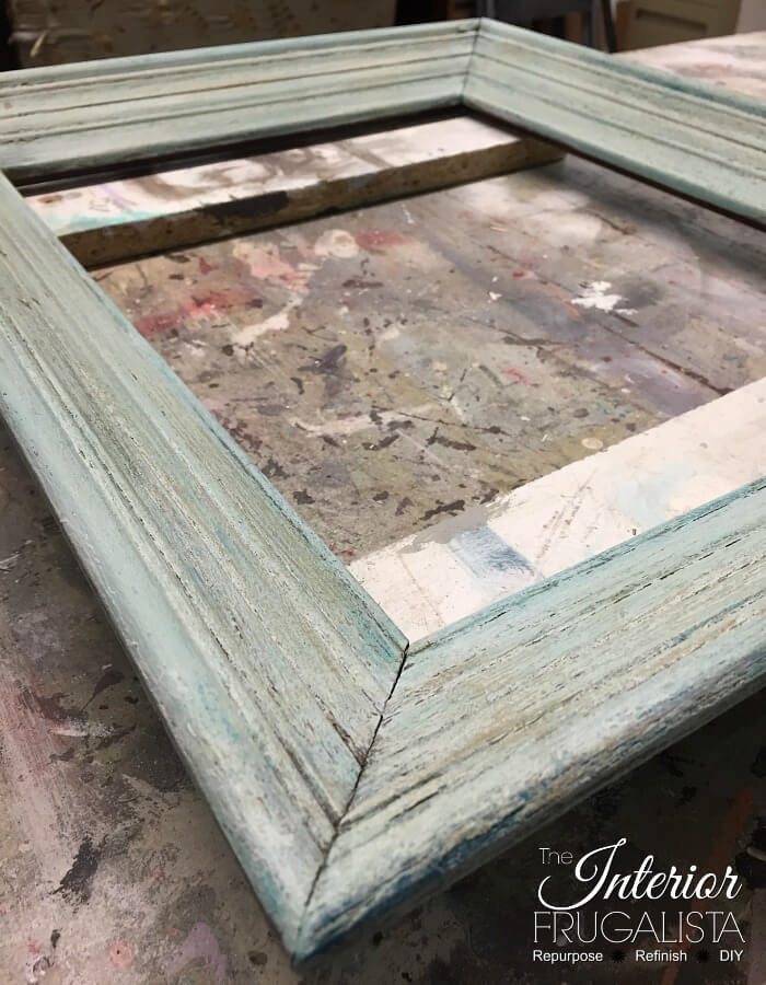 Coastal Picture Frame Serving Tray Chalk Paint Layers