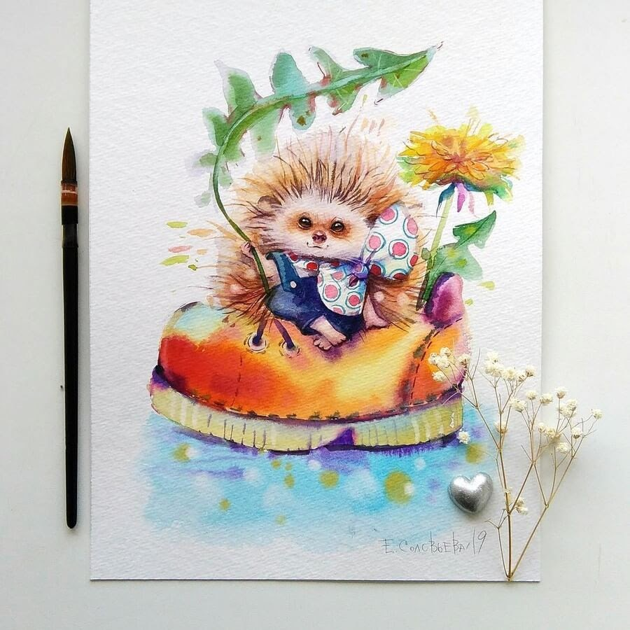 08-Hedgehog-Evgeniya-Solovyova-Fantasy-Animals-Watercolor-Paintings-www-designstack-co