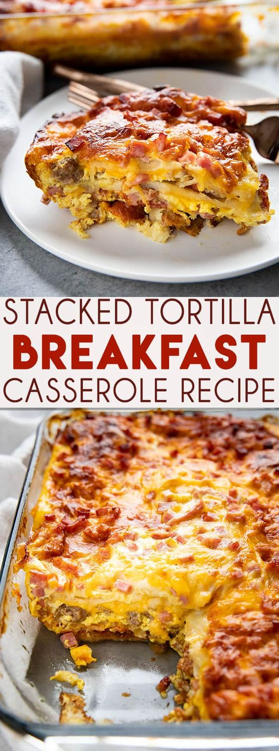 Stacked Tortilla Breakfast Casserole