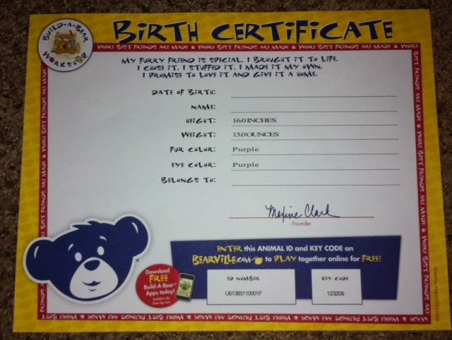 Mnc reviews build a bear my little pony princess twilight for Build a bear birth certificate template
