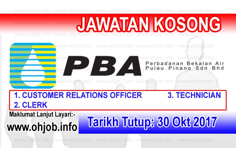Jawatan Kerja Kosong PBA - Perbadanan Bekalan Air Pulau Pinang logo www.ohjob.info oktober 2017