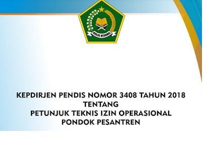 Juknis Izin Operasional Pondok Pesantren Nomor 3408 Tahun 2018