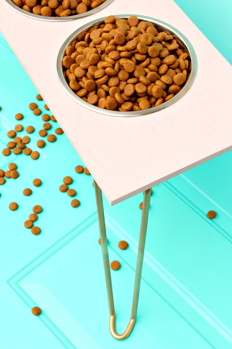 DIY Dog Bowl Stand | Pink and Gold with Hairpin Legs