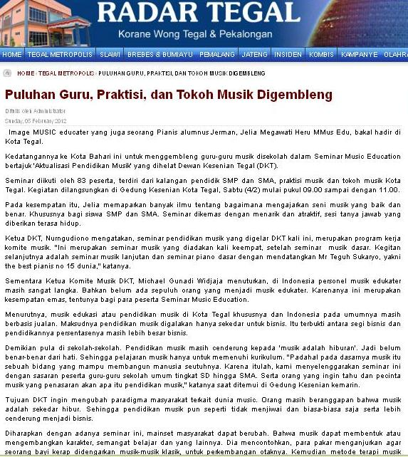 Jelia S Music Playground Artikel Dari Koran Radar Tegal Sunday