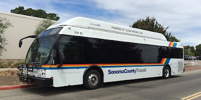 Sonoma County Transit bus parked curbside