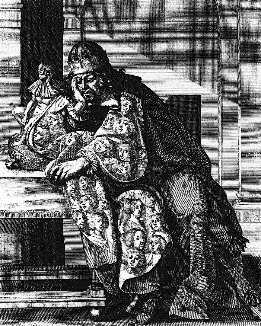 a drawing of a king by Abraham Bosse 1600s