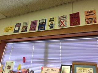 Posted rewards for golden tickets. Classroom management