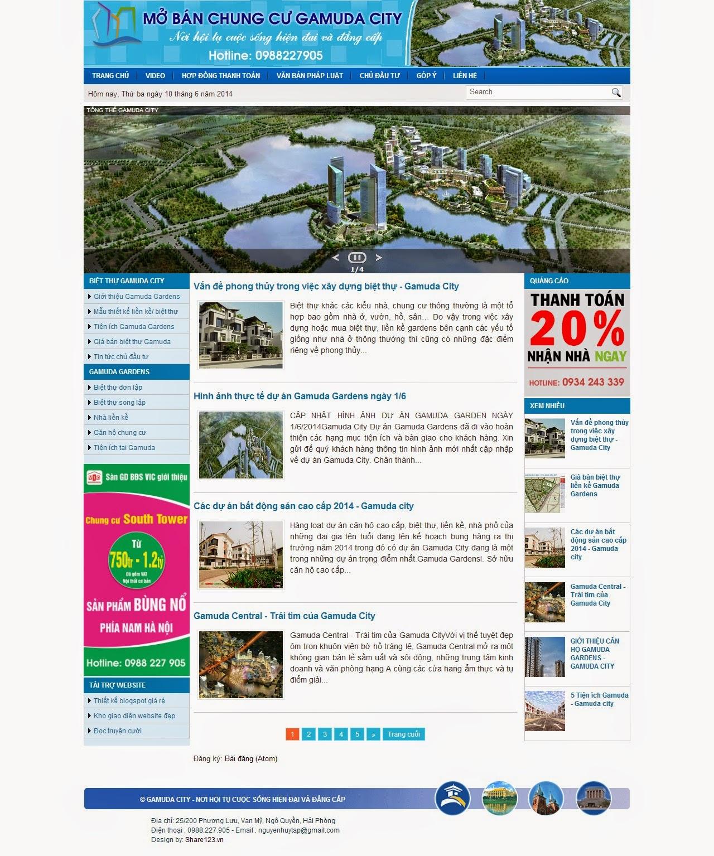 Gamuda City 3 - Mẫu template blogspot bán chung cư đẹp
