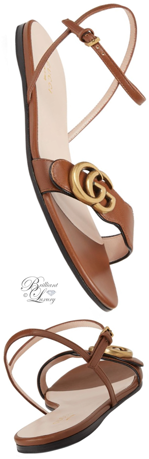 Brilliant Luxury ♦ Gucci Leather Double G Sandals
