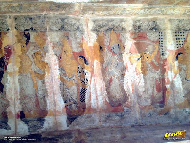Deteriorating mural paintings on the ceiling of Lepakshi temple