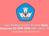 Contoh Nomor Ujian Nasional SMP