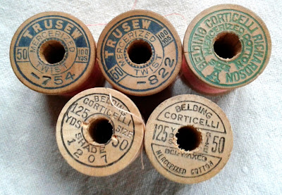 Trusew and Belding Corrticelli Richardson, Belding Corticelli wooden thread spools