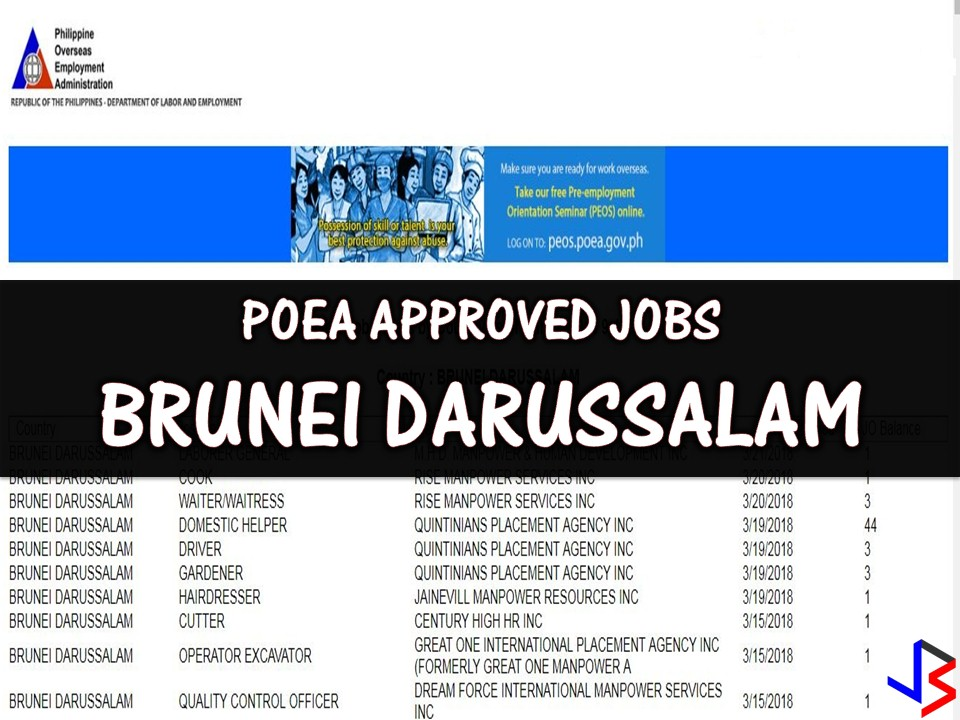 Several job opportunities are now open in Brunei for Filipinos who are looking for jobs abroad! Brunei is hiring Filipino workers for different fields of work. The following are job orders from Philippine Overseas Employment Administration (POEA) employment site!   Please reminded that jbsolis.com is not a recruitment agency, all information in this article is taken from POEA job posting sites and being sort out for much easier use.     The contact information of recruitment agencies is also listed. Just click your desired jobs to view the recruiter's info where you can ask a further question and send your application. Any transaction entered with the following recruitment agencies is at applicants risk and account.