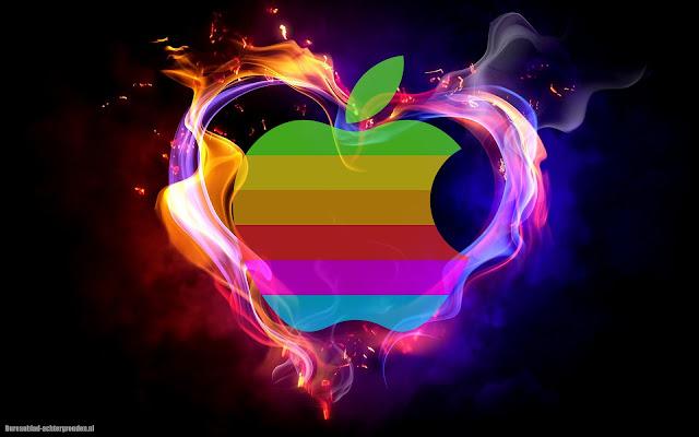Apple logo en liefdes hart van vuur