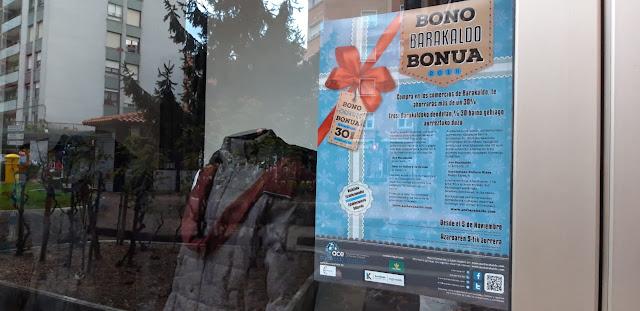 Cartel del Bono Barakaldo en un comercio