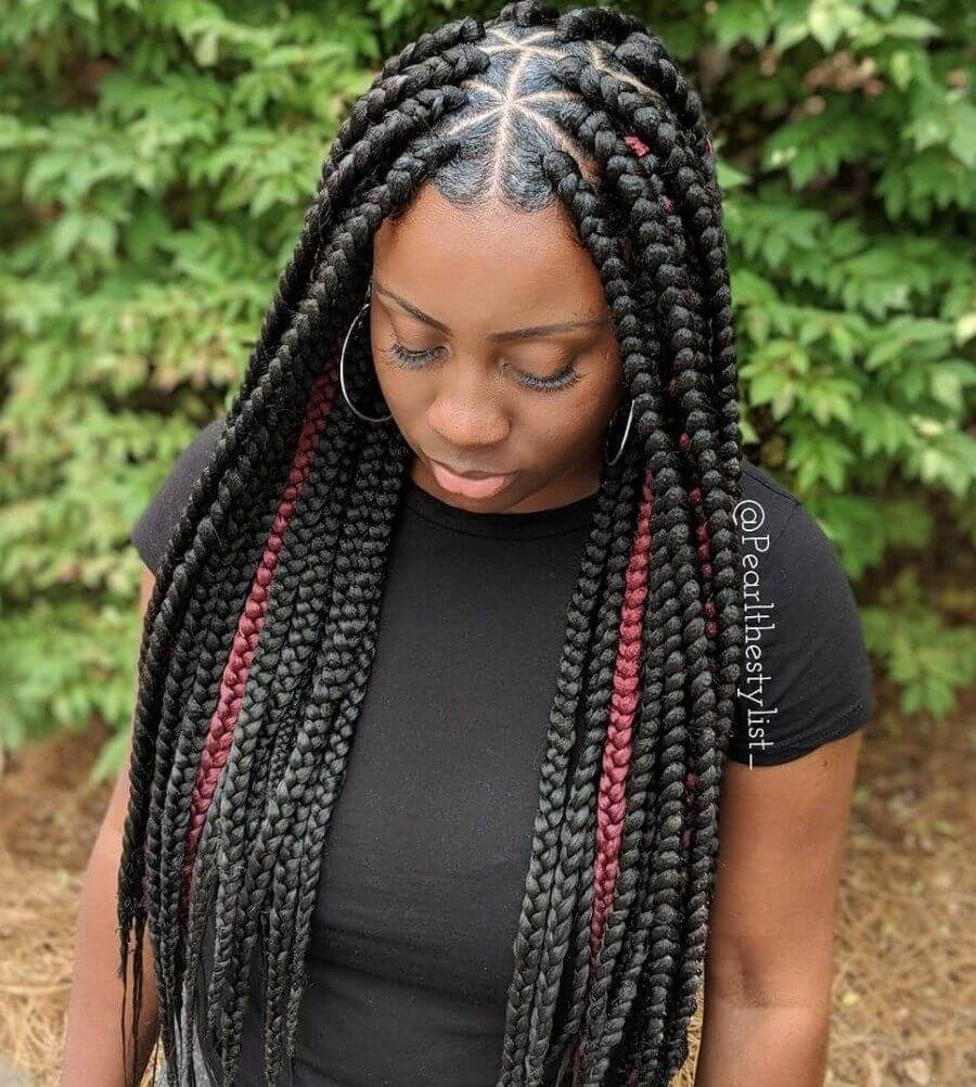 37 Unique Triangle Box Braids Hairstyles 2019 Funky For Black Women
