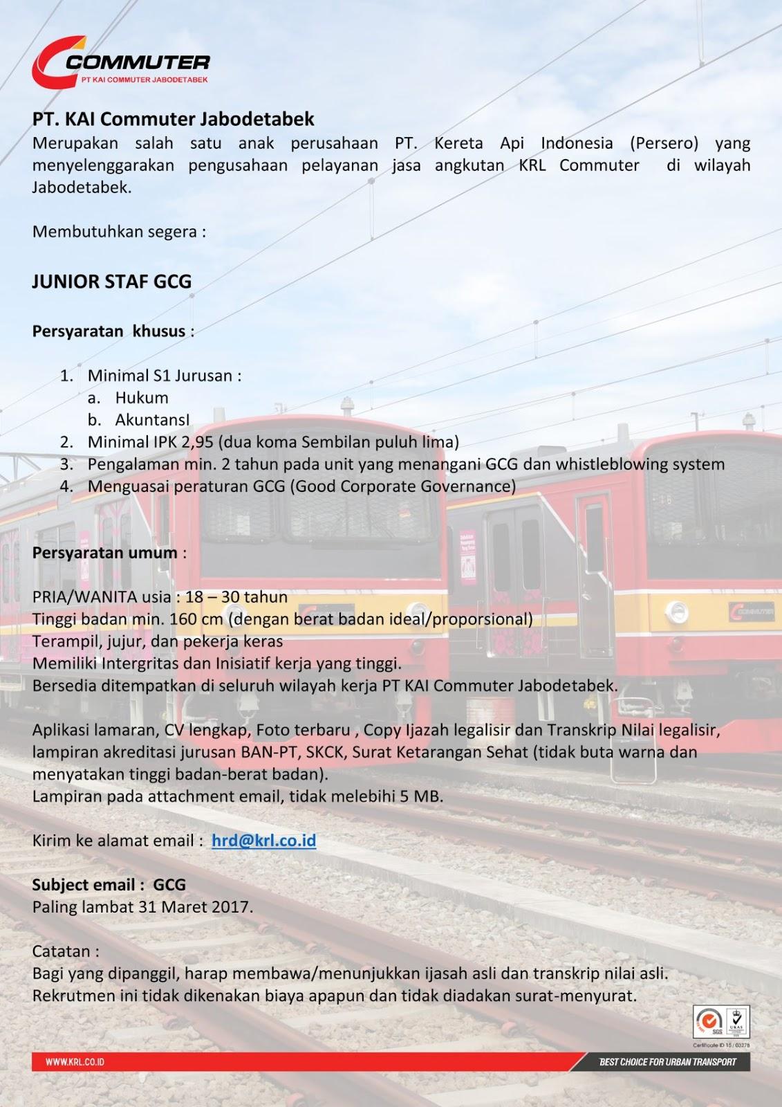 lokr pt kai commuter jabodetabel junior staff gcg 2017