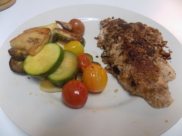 An eat local challenge...challenge (Pecan Crusted Catfish with sauteed summer veggies)