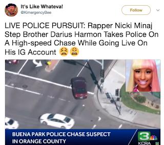 Nicki Minaj Brother High Speed Chase? Darius Harmon