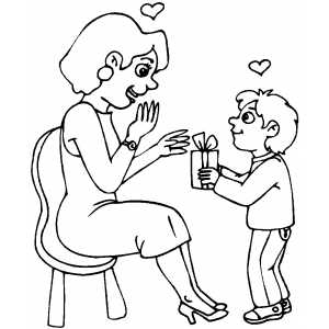 Coloring pages about gving ~ Gift for Mom ~ Child Coloring